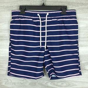 Men Navy Stripe Swim Trunk